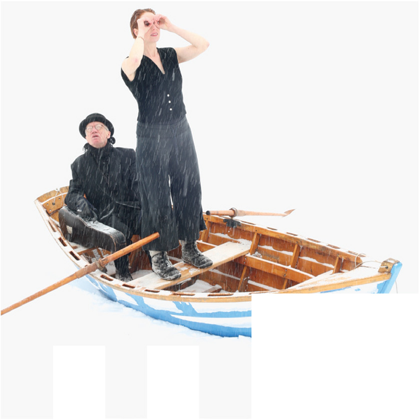 Kate Story and Curtis Driedger in a row boat.