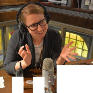 Victoria Mohr-Blakeney doing a podcast.
