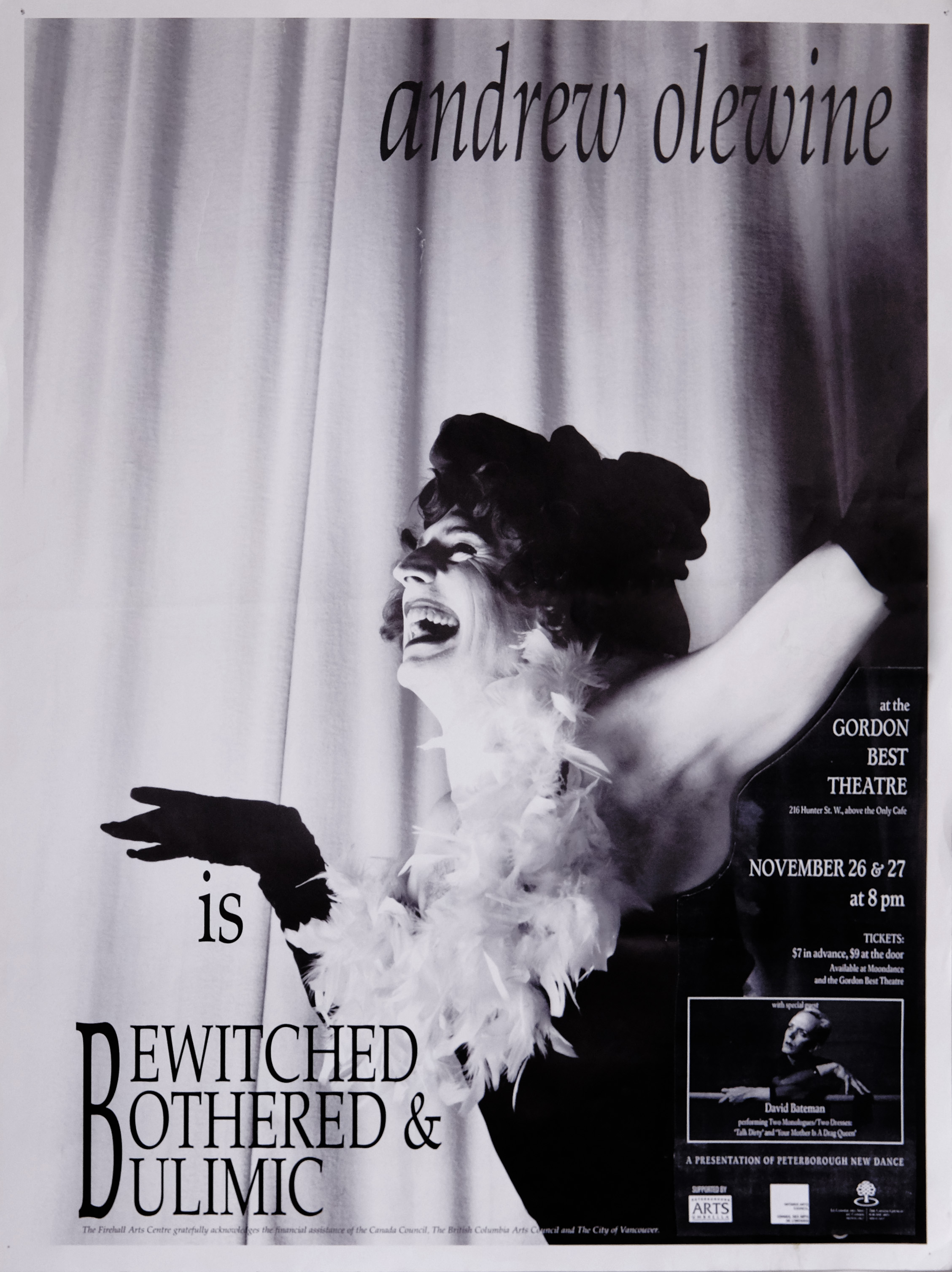 Andrew Olewine – Bewitched, Bothered and Bulimic With guest artist David Bateman Poster for Andrew Olewine in the photo.