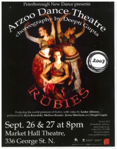 Poster for Rubies by Arzoon Dance Theatre