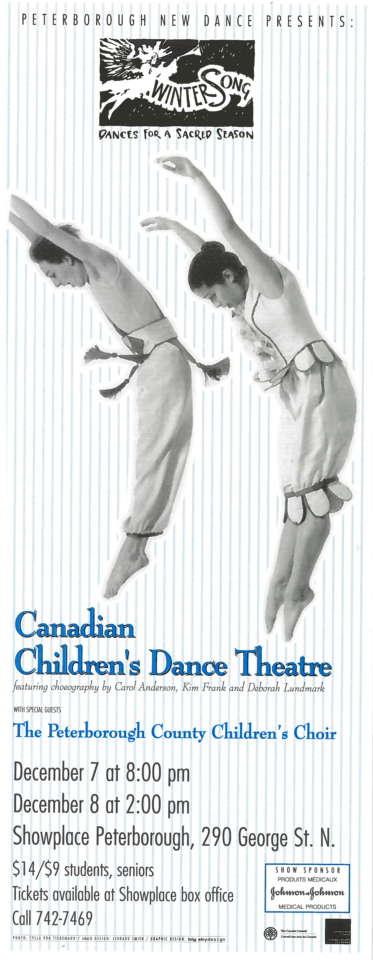 Canadian Children's Dance Theatre -Wintersong With the Peterborough County Children's Choir Poster for Canadian Children's Dance Theatre in the photo.