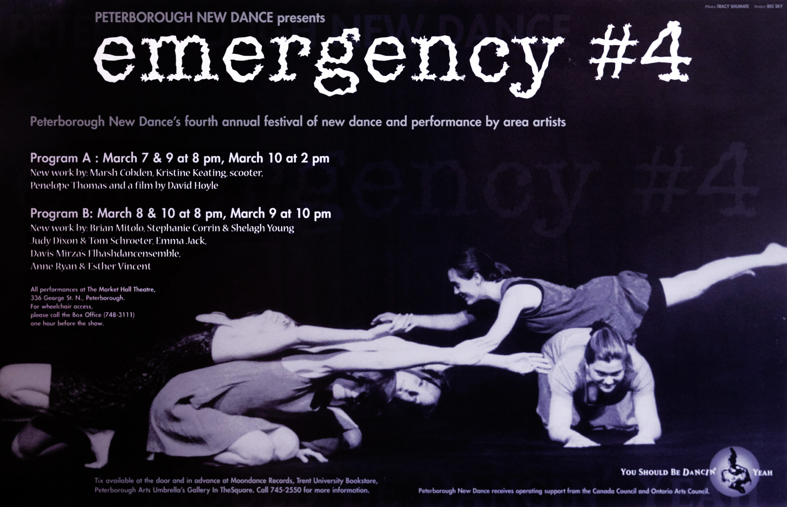 Emergency #4 – Festival of new dance and performance by Peterborough-based artists Poster for Emergency #4 in the photo.