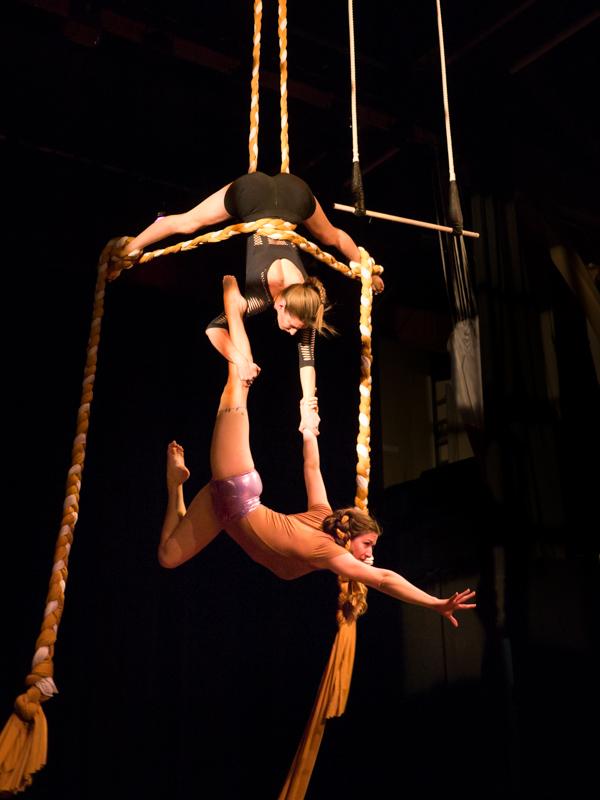 Circus Arts Jennifer Elchuk and Kayla Stanistreet performing on a trapeze.