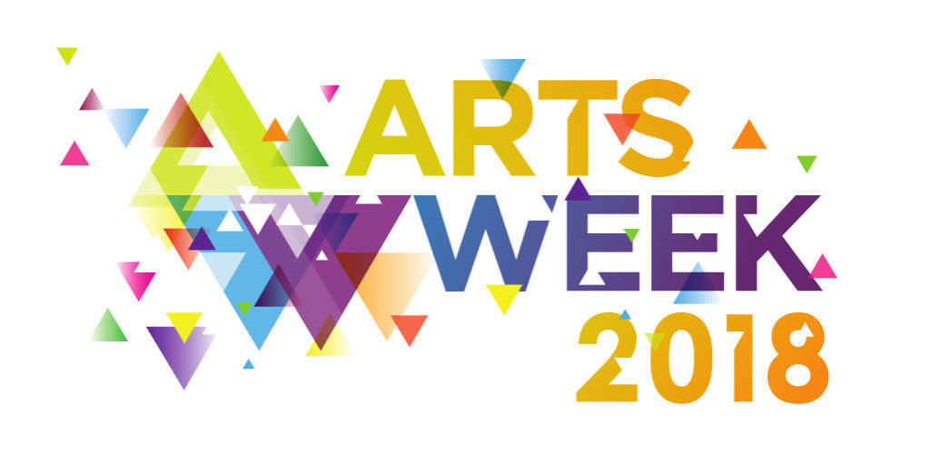 Artsweek Logo: a splash of rainbow colour with triangular confetti