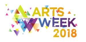Artsweek Logo: a splash of rainbow colour with triangular confetti