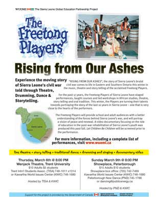 Freetong Players: Rising from Our Ashes with Kawartha World Issues Centre & Wuomi