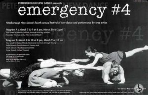 Poster Advertising Emergency 4 featuring a black and white still of four women crouched on the floor grapsing each others hands