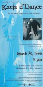 Poster for Kaeja d'Dance, blue background. A man flies into the air while a woman appears to grab for him