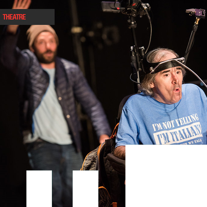 This is the Point Two actors, one faded into the background and the second actor is in the front in a chair with a electronic headpiece on. in the photo.