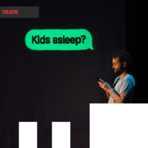 "A man looking down to his phone, with a text bubble above with head reading : ""kids asleep?"""