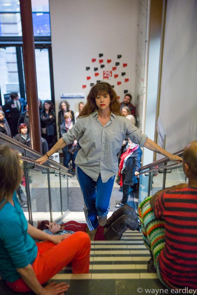 Anandam Dance Theatre peforming Divergent Dances (Peterborough) on Market Hall stairs
