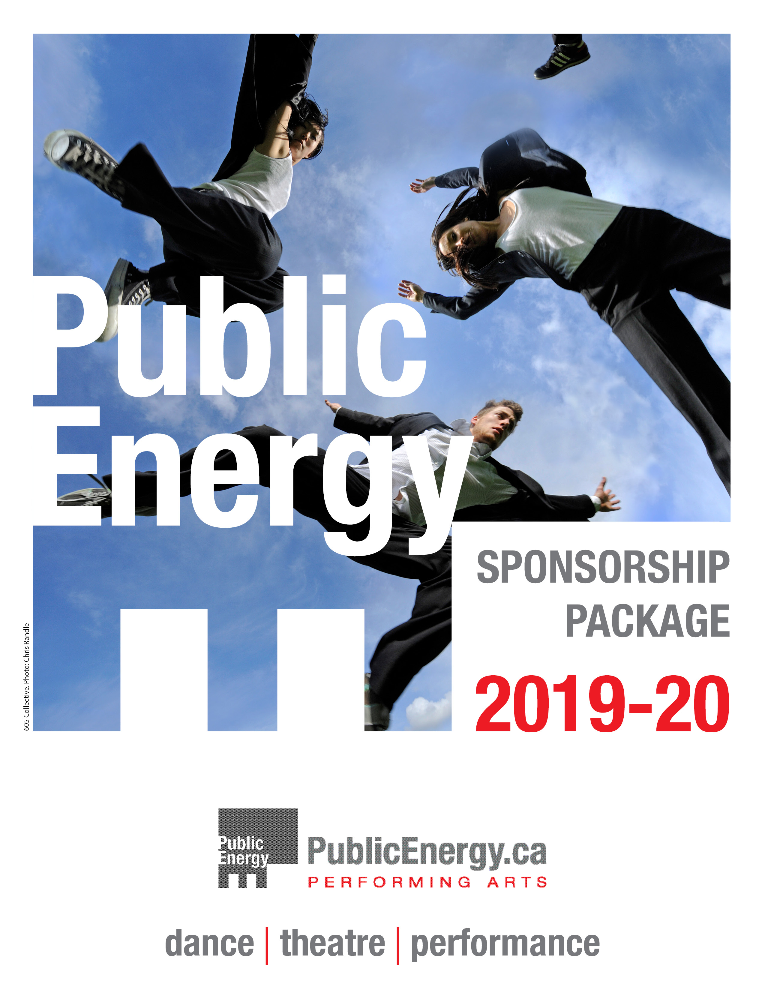 Public Energy sponsorship package PDF. There is an image of people jumping into the air in front of a blue sky.