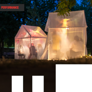 Two illuminated greenhouses. Each contains a cluster of people, including one storyteller