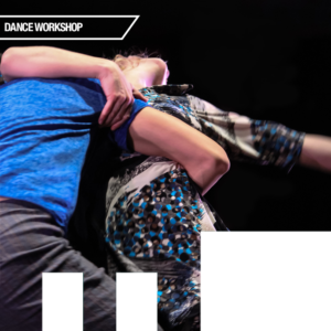 Two dancers moving against a black background.