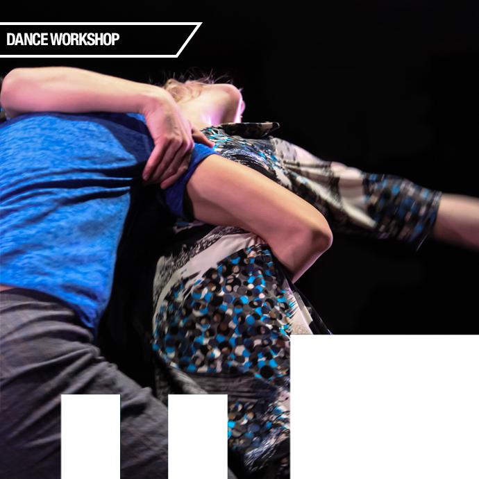 Improvisation Dance Workshop with Karen Kaeja of Kaeja d'Dance Two dancers moving against a black background. in the photo.