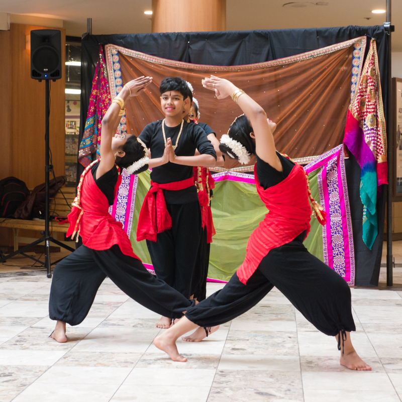 Mithila Ballal and Ensemble perform UKTI, a pop-up performance at the Peterborough Square for Public Energy Performing Arts' 25th anniversary.
