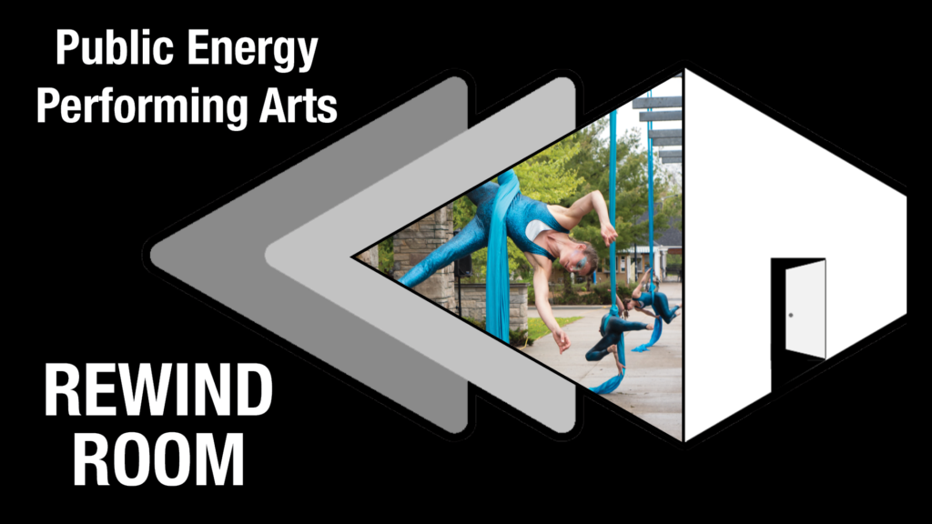 Photo of Jennifer Elchuk, Kayla Stanistreet and Nicole Malbeuf performing Elements; Air and Water inside the Rewind Room Logo.