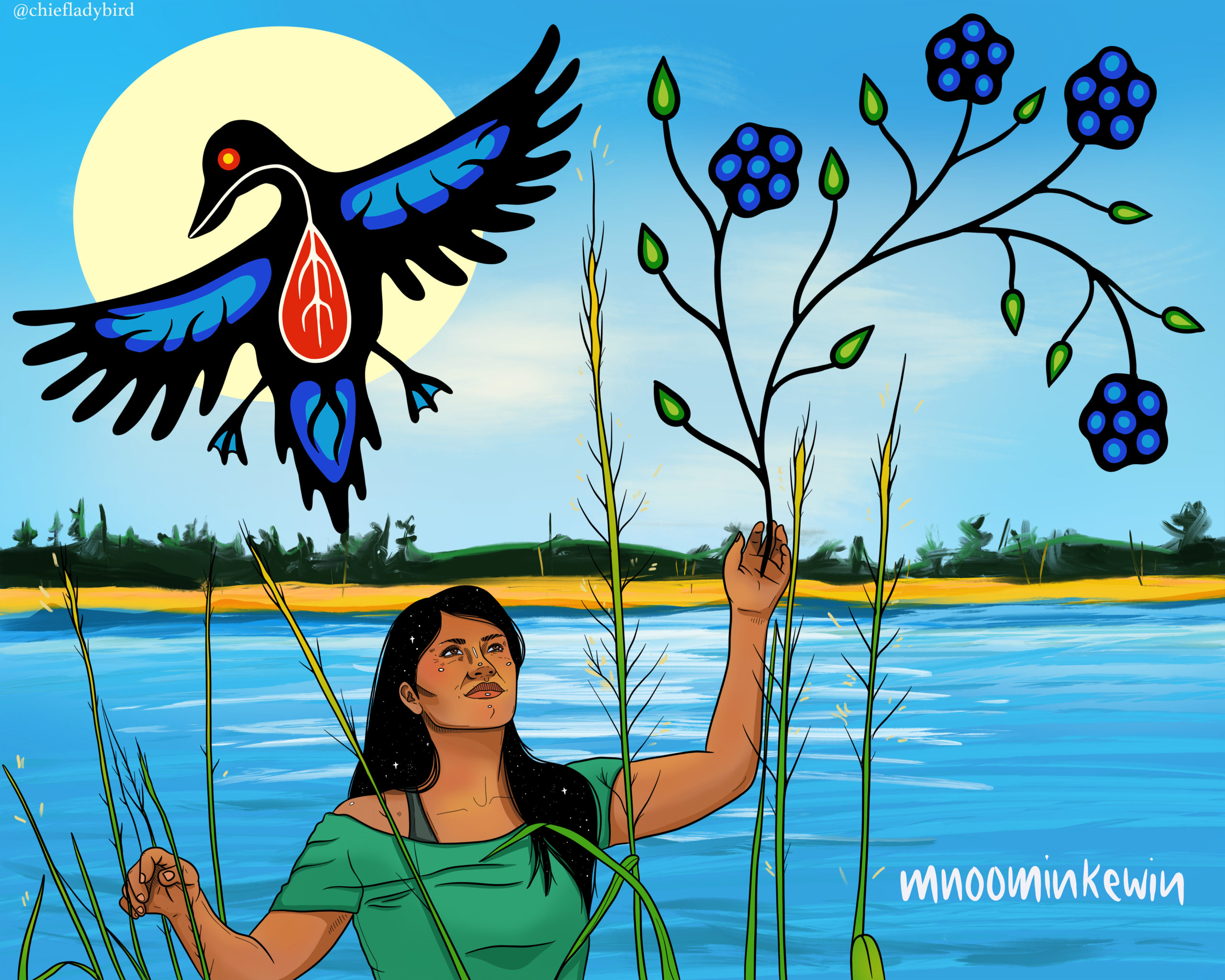 Mnoominkewin Mnoominkewin artwork by Chief Lady Bird in the photo.