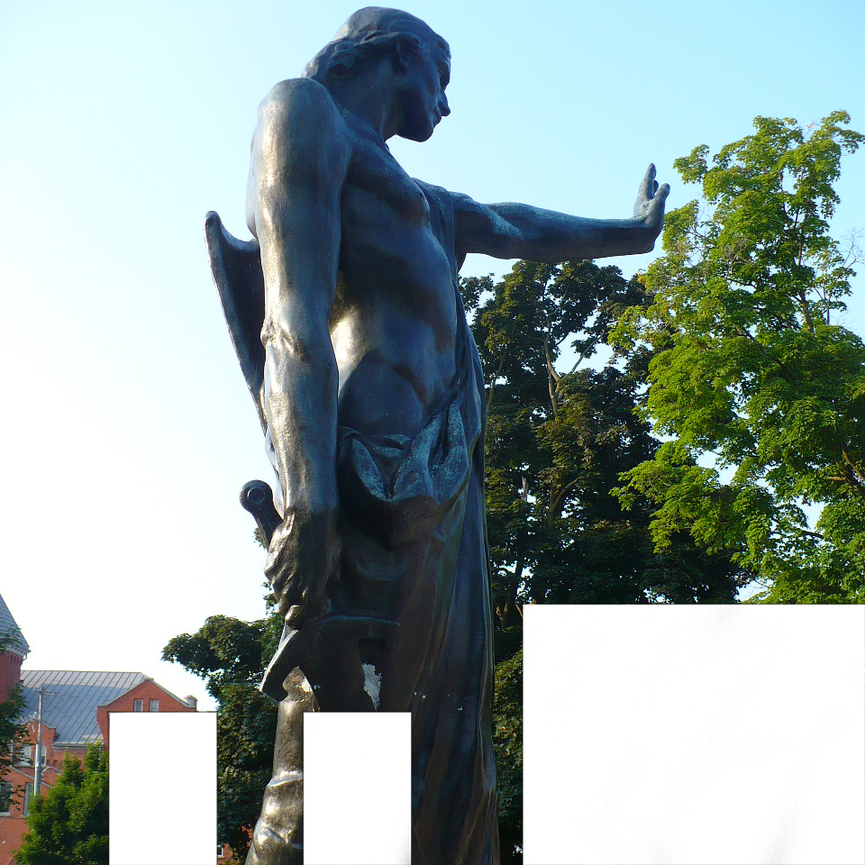 Meeting At Thebes Photo of statue with outstretched palm at Peterborough Citizens War Memorial in the photo.