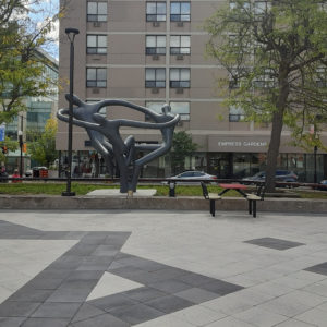 photo of the sculpture in Peterborough Square courtyard