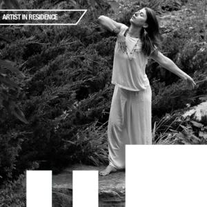 Ireni Stamou dancing, black and white photo.