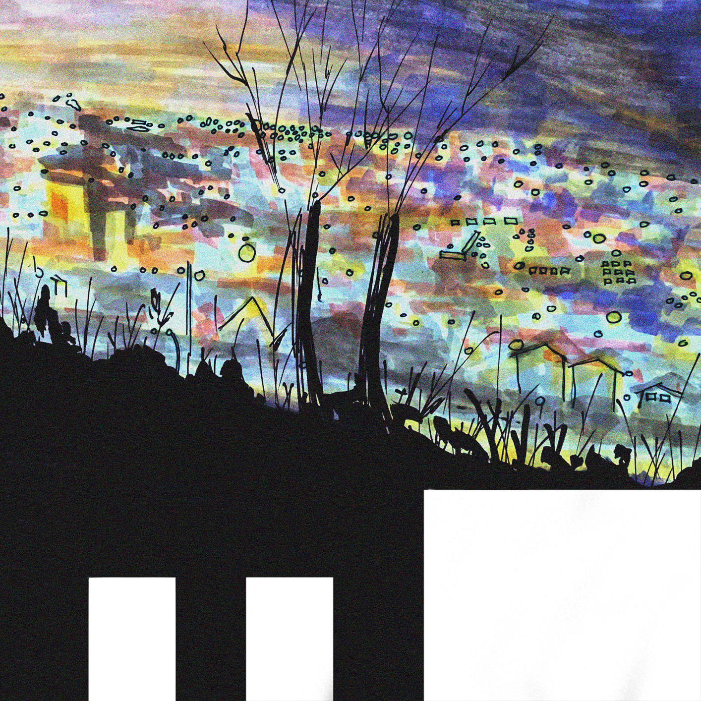 a painting of a night skyline by Sonia Gemmiti