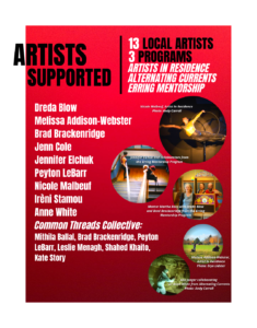 Artists Supported page from Wrapping up 2020
