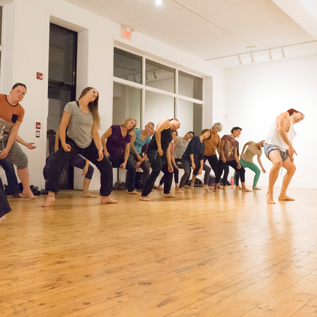 A group of people doing a movement exerciser together.