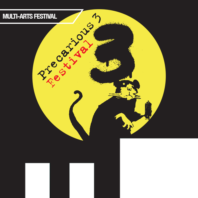 A rat with a can of spraypaint appears to have painted a three beside the words Precarious Festival